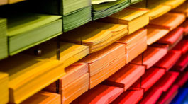 An assortment of colored paper.